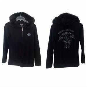 Harley Davidson faux fur trim zip up hoodie